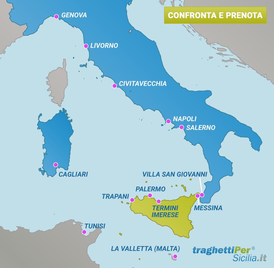 Mappa dei Traghetti per la Sicilia - TraghettiPer