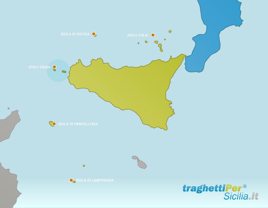 Sicilia E Isole Cartina.Traghetti Isole Egadi Traghettiper Sicilia