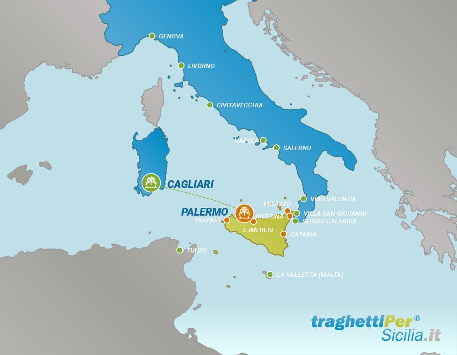 Tratta traghetto da Cagliari a Palermo