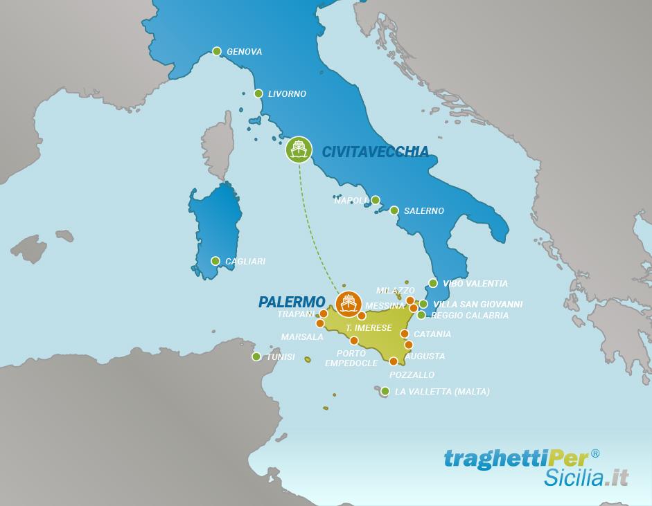 Tratta traghetto da Civitavecchia a Palermo
