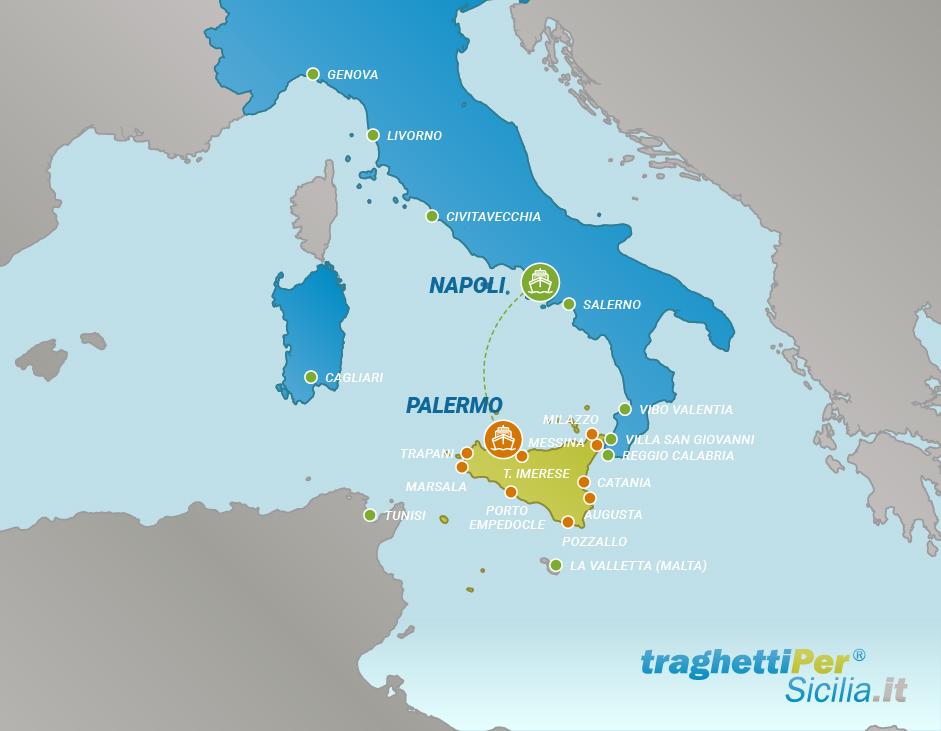 Tratta traghetto da Napoli a Palermo