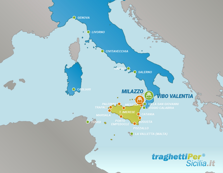 Tratta traghetto da Vibo Valentia a Milazzo